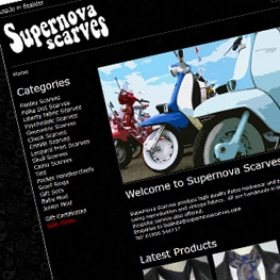 Supernova Scarves website design screenshot
